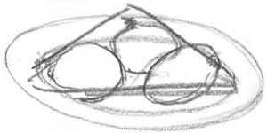bord en 3 uien, stilleven compositie