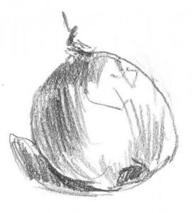 stilleven compositie met uien