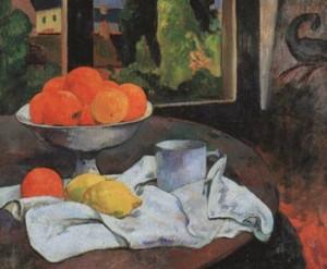 fruitstilleven; citaten van Paul Gauguin