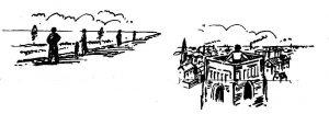 perspectief strand en toren